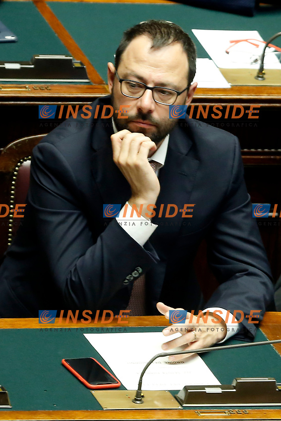 Minister of Economic Development Stefano Patuanelli<br /> Rome September 9th 2019. Lower Chamber. Programmatic speech of the new appointed Italian Premier at the Chamber of Deputies to explain the program of the yellow-red executive. After his speech the Chamber is called to the trust vote at the new Government. <br /> Foto  Samantha Zucchi Insidefoto