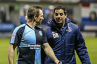 Garry Thompson of Wycombe Wanderers talks to a member of the Luton Town coaching staff after the Sky Bet League 2 match between Luton Town and Wycombe Wanderers at Kenilworth Road, Luton, England on 26 December 2015. Photo by David Horn.