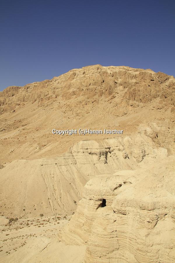 Dead Sea valley, cave 4 at Qumran, site of the Dead Sea Scrolls