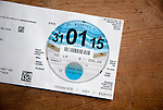 Paper vehicle licence tax disc issued by the DVLA, UK