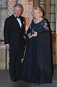 London, UK. 2 February 2016. Prince Charles, the Prince of Wales with Camilla, Duchess of Cornwall. Red carpet arrivals for the British Asian Trust Annual Dinner at the Natural History Museum.