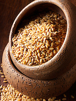 Organic Golden linssed  seeds. Stock Photos