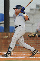 Bluefield Blue Jays designated hitter Leo Hernandez #25 swings at a pitch during the first game of the 2011 Championship Series between the Bluefield Blue Jays and the Johnson City Cardinals at Howard Johnson Field on September 3, 2011 in Johnson City, Tennessee.  The Cardinals won the game 4-3.  (Tony Farlow/Four Seam Images)
