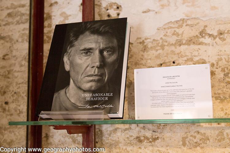 Hauser and Wirth art gallery, restaurant and garden, Durslade Farm, Bruton, Somerset, England, UK Don McCullin book display