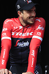 John Degenkolb (GER) Trek-Segafredo team presented to the crowd before the start of the 60th edition of the Record Bank E3 Harelbeke 2017, Flanders, Belgium. 24th March 2017.<br /> Picture: Eoin Clarke | Cyclefile<br /> <br /> <br /> All photos usage must carry mandatory copyright credit (&copy; Cyclefile | Eoin Clarke)