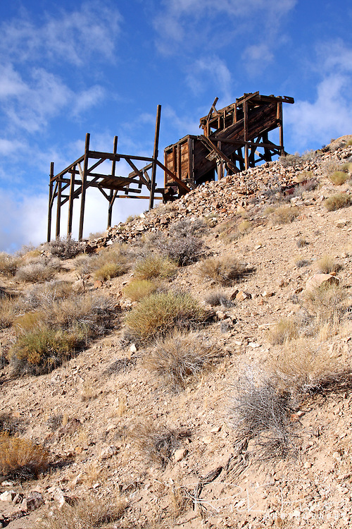 Remains of the Cashier Mill that was part of the Eureka Mine in the Panamint Mountains. The Eureka Mine was started by Shorty Harris and Pete Aguereberry around 1906 and a tent city settlement of 300 people was called Harrisburg.
