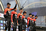 Roompot-Charles team on stage at sign on before the 2019 Gent-Wevelgem in Flanders Fields running 252km from Deinze to Wevelgem, Belgium. 31st March 2019.<br /> Picture: Eoin Clarke | Cyclefile<br /> <br /> All photos usage must carry mandatory copyright credit (© Cyclefile | Eoin Clarke)