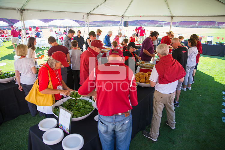 Santa Clara, CA - August 6, 2017: Stanford Football Season Ticket Member Kickoff BBQ at Stanford Stadium.