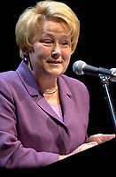 Quebec Minister of Finance Louise Marois speak at the launch of Hexagram, December 10th 2001 in Montreal, CANADA<br /> <br />  Marois finally became PQ leader in 2007. The upcoming Quebec provincial election will be held Dec 14, 2008.