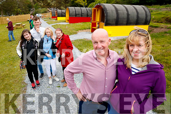 Marcella and Tommy Dowling with Clodagh McCluskey, Jack Herlihy, Theresa Dowling and Marie Dowling, pictured at the opening of the Coachfield Glamping site based in Camp, Tralee, on Sunday last.