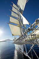 The Star Clipper approaches St. Kitts under sails.