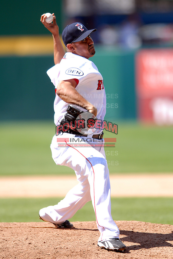 Pitcher Franklin Morales #23 of the Pawtucket Red Sox during a game versus the Lehigh Valley Iron Pigs on June 19, 2011 at McCoy Stadium in Pawtucket, Rhode Island.(Ken Babbitt/Four Seam Images)