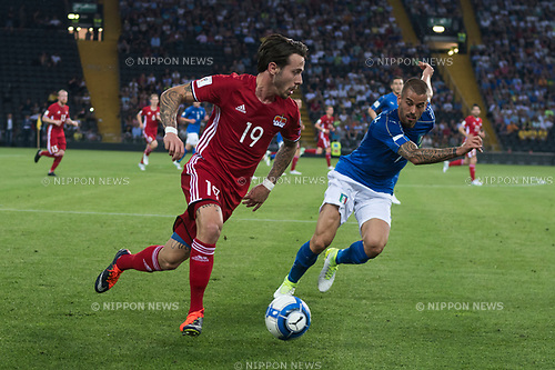Dennis Salanovic (LIE), Leonardo Spinazzola (ITA), JUNE 11, 2017 - Football / Soccer : FIFA World Cup Russia 2018 European Qualifier Group G match between Italy 5-0 Liechtenstein at Dacia Arena in Udine, Italy. (Photo by Maurizio Borsari/AFLO)