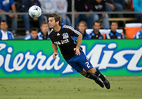 22 May 2008: Eric Denton of the Earthquakes hits the ball during the game against the Dynamo at Buck Shaw Stadium in San Jose, California.   San Jose Earthquakes and Houston Dynamo are tied 0-0 at halftime.