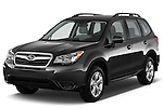 2015 Subaru Forester 2.5I Pzev 5 Door SUV angular front stock photos of front three quarter view