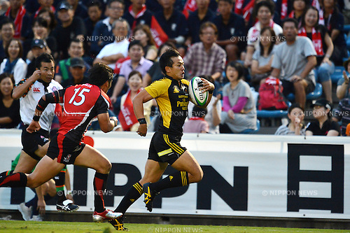 Hirotoki Onozawa (Sungoliath),.SEPTEMBER 22, 2012 - Rugby : Japan Rugby Top League 2012-2013, 4th Sec match between Suntory Sungoliath 42-17 Canon Eagles at Chichibunomiya Rugby Stadium, Tokyo, Japan. (Photo by Jun Tsukida/AFLO SPORT).