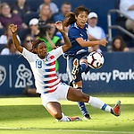 Crystall Dunn of USA (left) breaks up a shot on goal by Japan's Emi Nakajima in the second of two Tournament of Nations games at Children's Mercy Park in Kansas City, Kansas on July 26, 2018.<br /> Photo by Tim Vizer