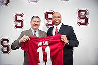 Stanford, Ca-January 13, 2010: David Shaw is announced as the new head football coach for Stanford University by Athletic Director Bob Bowlsby.