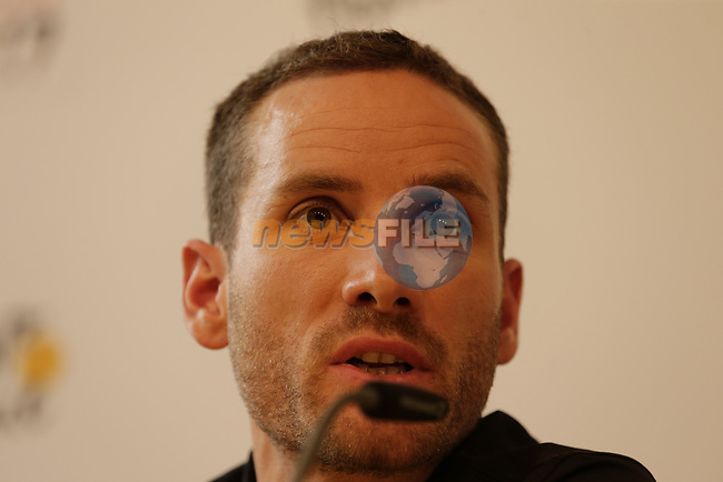 Damiano Caruso (ITA) BMC Racing Team press conference before the 104th edition of the Tour de France 2017, Dusseldorf, Germany. 29th June 2017.<br /> Picture: Eoin Clarke | Cyclefile<br /> <br /> All photos usage must carry mandatory copyright credit (&copy; Cyclefile | Eoin Clarke)