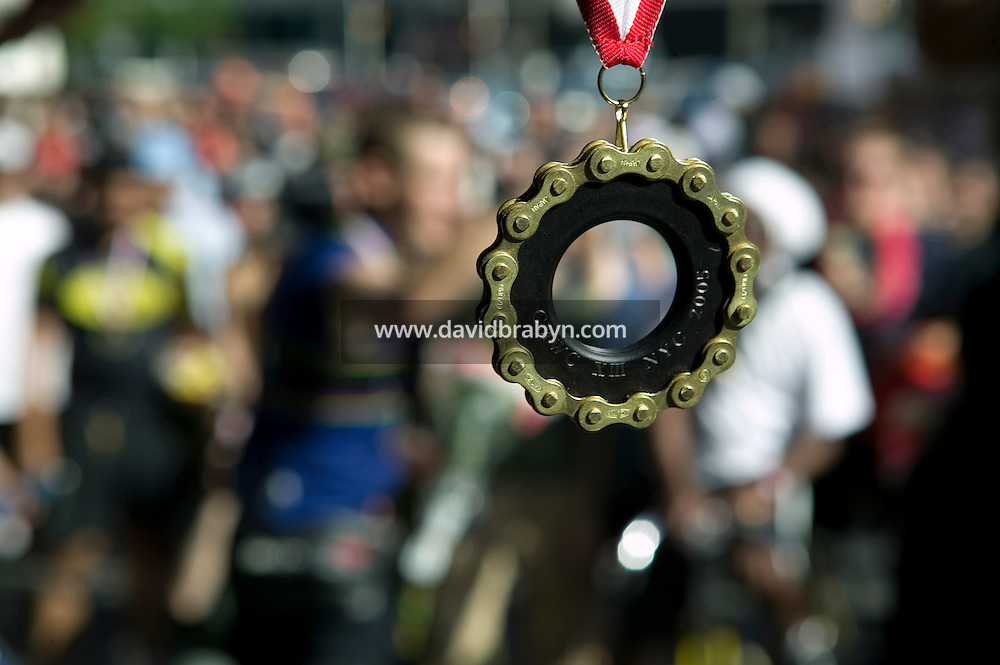 3 July 2005 - Jersey City, NJ, USA - View of the gold medal about to be awarded to Swiss rider Karl Stransky from Basil winner of the final race of the 13th annual cycle messenger world championships, Jersey City, USA, July 2nd 2005. More than 700 riders from all over the world took part in the 4-day competition which carries event based on the daily work of a city bike messenger.
