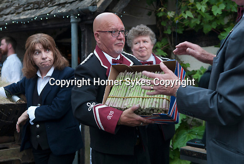 Asparagus Auction at The Fleece Inn Bretforton Vale of Evesham Worcestershire UK 2017