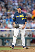 Michigan Wolverines pitcher Tommy Henry (47) screams after a strike out during Game 6 of the NCAA College World Series against the Florida State Seminoles on June 17, 2019 at TD Ameritrade Park in Omaha, Nebraska. Michigan defeated Florida State 2-0. (Andrew Woolley/Four Seam Images)