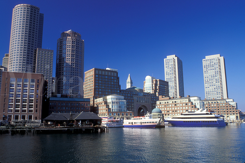 skyline, inner harbor, Boston, Massachusetts, MA, Downtown skyline of Boston from Boston Inner Harbor in the autumn.