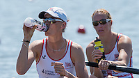 Brandenburg. GERMANY.<br /> GBR W2-. Bow helen GLOVER and Heather STANNING, at the start of thier heat of the Women's pair. 2016 European Rowing Championships at the Regattastrecke Beetzsee<br /> <br /> Friday  06/05/2016<br /> <br /> [Mandatory Credit; Peter SPURRIER/Intersport-images]