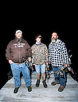 Shanon Lanphar (cq), Briceson Lanphar (cq, age 14) and Travis Lanphar (cq) with team Twisted Limbs from Haines City, Florida, during the U.S. Open Bowfishing Championship, Saturday, May 3, 2014. <br /> <br /> Photo by Matt Nager