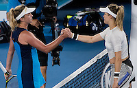 Eugenie Bouchard of Canada congratulates Coco Vandeweghe of the USA during Day five of the Australian Open Tennis Championships held in Melbourne Park, Australia on 20th January 2017