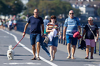 Pictured: Dog walkers during the sunny weather at Mumbles, near Swansea, Wales, UK. Thursday 19 September 2019