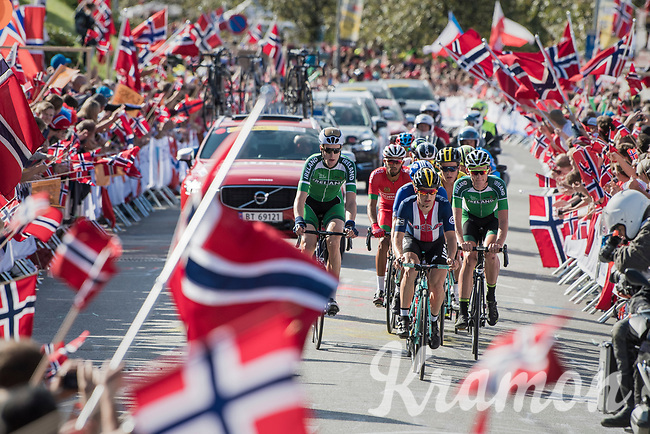 the breakaway group up Salmon Hill<br /> <br /> Men Elite Road Race<br /> <br /> UCI 2017 Road World Championships - Bergen/Norway