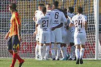 Edin Dzeko of AS Roma celebrates with his team mates after scoring the goal of 0-1 <br /> Lecce 29/09/2019 Stadio Via del Mare <br /> Football Serie A 2019/2020 <br /> US Lecce - AS Roma <br /> Photo Gino Mancini / Insidefoto