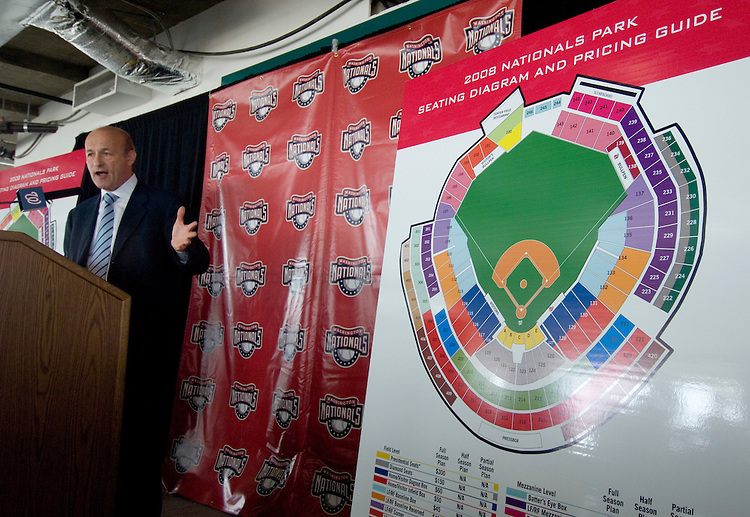 Washington Nationals president Stan Kasten unveils prices for the 2008 season in the new stadium on Wednesday, June 6, 2007.