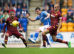 St Johnstone v Motherwell...22.08.15  SPFL   McDiarmid Park, Perth<br /> Graham Cumins and Louis Laing<br /> Picture by Graeme Hart.<br /> Copyright Perthshire Picture Agency<br /> Tel: 01738 623350  Mobile: 07990 594431