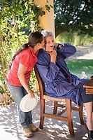 John and Sarah´s last weekend at breakfast with Margarita Soriano.  San Jose de Los Laureles, Tlayacapan, Morelos, Mexico