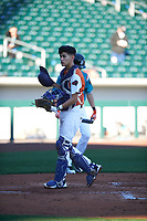 Raul Aragon (4) of Paschal High School in Fort Worth, Texas during the Baseball Factory All-America Pre-Season Tournament, powered by Under Armour, on January 13, 2018 at Sloan Park Complex in Mesa, Arizona.  (Zachary Lucy/Four Seam Images)