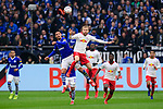 16.03.2019, VELTINS Arena, Gelsenkirchen, Deutschland, GER, 1. FBL, FC Schalke 04 vs. RB Leipzig<br /> <br /> DFL REGULATIONS PROHIBIT ANY USE OF PHOTOGRAPHS AS IMAGE SEQUENCES AND/OR QUASI-VIDEO.<br /> <br /> im Bild Zweikampf zwischen Ahmed Kutucu (#15 Schalke) und Konrad Laimer (#27 Leipzig) / Kopfball<br /> <br /> Foto © nordphoto / Kurth