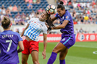 Bridgeview, IL - Saturday July 22, 2017: Jennifer Hoy, Toni Pressley during a regular season National Women's Soccer League (NWSL) match between the Chicago Red Stars and the Orlando Pride at Toyota Park. The Red Stars won 2-1.