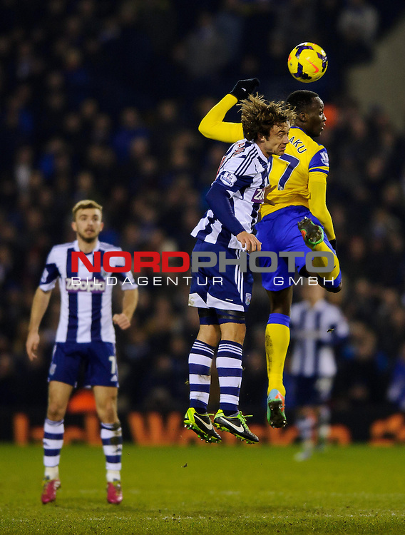 West Brom Defender Diego Lugano and Everton Forward Romelu Lukaku (BEL) compete in the air -  - 20/01/2014 - SPORT - FOOTBALL - The Hawthorns Stadium - West Bromwich Albion v Everton - Barclays Premier League.<br /> Foto nph / Meredith<br /> <br /> ***** OUT OF UK *****