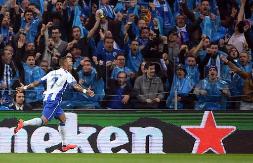 15.04.2015. Porto, Portugal.  Ricardo Qaresma of Porto celebrates after scoring the goal for 2-0 during the UEFA Champions League quarter final first leg soccer match between FC Porto and FC Bayern Munich at Estadio do Dragao in Porto, Portugal
