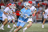 College Park, MD - April 27, 2019: John Hopkins Bluejays midfielder Connor DeSimone (3) passes the ball during the game between John Hopkins and Maryland at  Capital One Field at Maryland Stadium in College Park, MD.  (Photo by Elliott Brown/Media Images International)