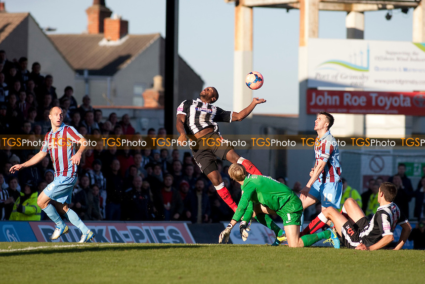 Lenell John-Lewis of Grimsby Town just misses contact<br />  - Grimsby Town vs Scunthorpe United - FA Cup 1st Round Football at Blundell Park, Grimsby, Lincolnshire - 09/11/13 - MANDATORY CREDIT: Mark Hodsman/TGSPHOTO - Self billing applies where appropriate - 0845 094 6026 - contact@tgsphoto.co.uk - NO UNPAID USE
