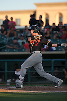 Drew Weeks (2) of the Modesto Nuts bats against the Lancaster JetHawks at The Hanger on June 7, 2016 in Lancaster, California. Lancaster defeated Modesto, 3-2. (Larry Goren/Four Seam Images)