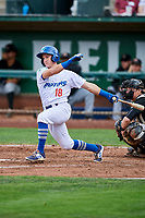 Rylan Bannon (18) of the Ogden Raptors bats against the Great Falls Voyagers at Lindquist Field on September 14, 2017 in Ogden, Utah. The Raptors defeated the Voyagers 7-4 in Game One of the Pioneer League Championship. (Stephen Smith/Four Seam Images)