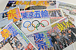 Sport papers, SEPTEMBER 9, 2013 : Copies of the Japanese sport papers are pictured reporting Tokyo won the bid to host the 2020 Summer Olympic Games in Tokyo Japan. (Photo by Daiju Kitamura/AFLO SPORT)