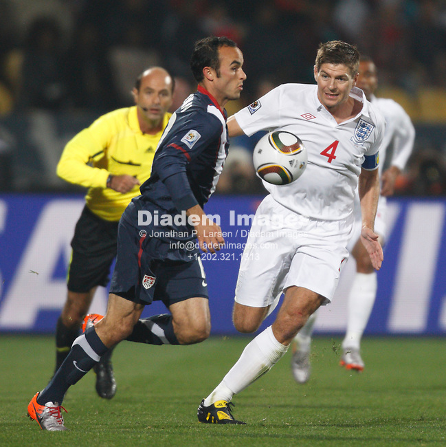 RUSTENBURG, SOUTH AFRICA - JUNE 12:  Landon Donovan of the United States (l) brings the ball down against Steven Gerrard of England (r) during a 2010 FIFA World Cup soccer match June 12, 2010 in Rustenburg, South Africa.  NO mobile use.  Editorial ONLY. (Photograph by Jonathan P. Larsen)