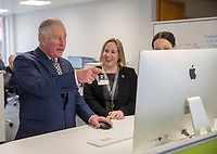 08 March 2019 - Prince Charles  with Lynne Downey and Kate Lindsey during a visit to the University College of Estate Managements Headquarters in Reading. Photo Credit: ALPR/AdMedia