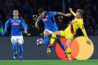 25th February 2020; Stadio San Paolo, Naples, Campania, Italy; UEFA Champions League Football, Napoli versus Barcelona; Giovanni Di Lorenzo of Napoli challenges Frenkie de Jong of Barcelona for the ball