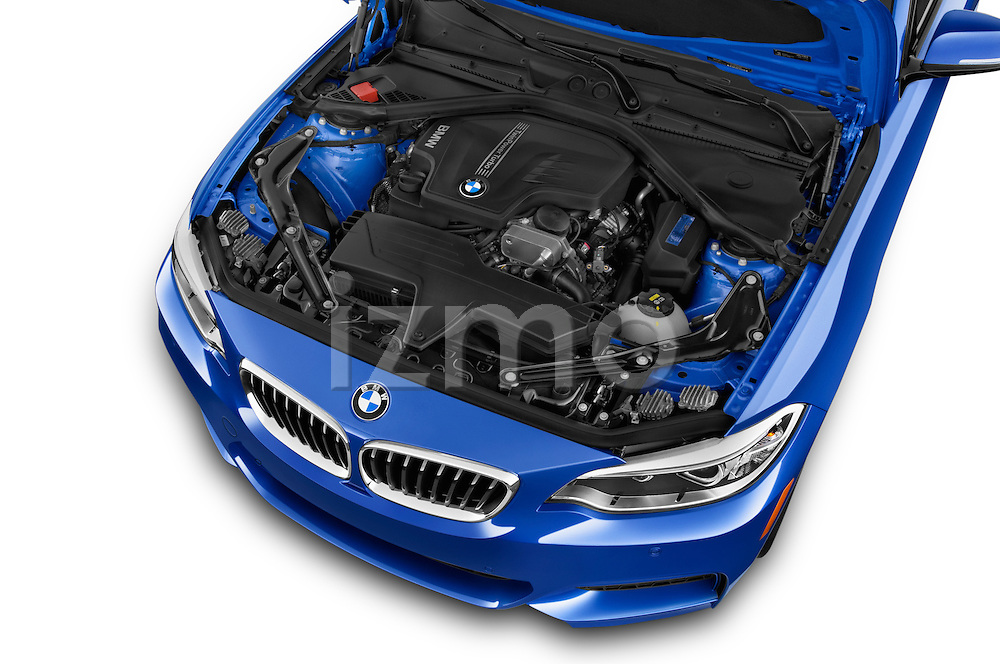 Car Stock 2017 BMW 2-Series M230i 2 Door Convertible Engine  high angle detail view